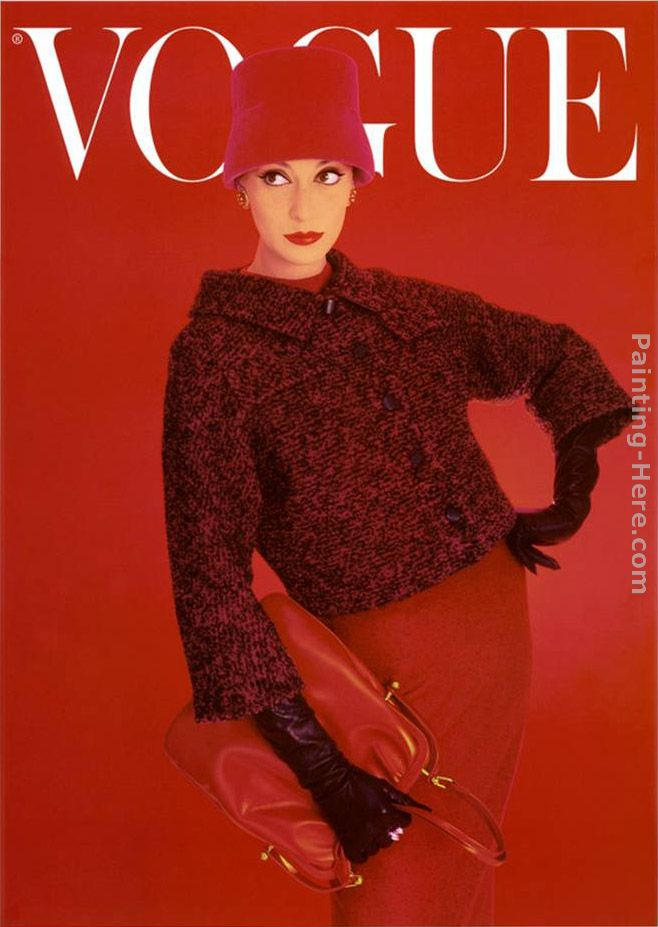 Norman Parkinson Vogue Cover, Red Rose, August Art Painting