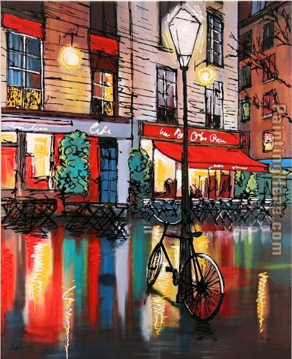 Paris Cafe painting - Paul Kenton Paris Cafe art painting