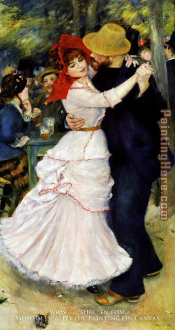 Dance at Bougival I painting - Pierre Auguste Renoir Dance at Bougival I art painting