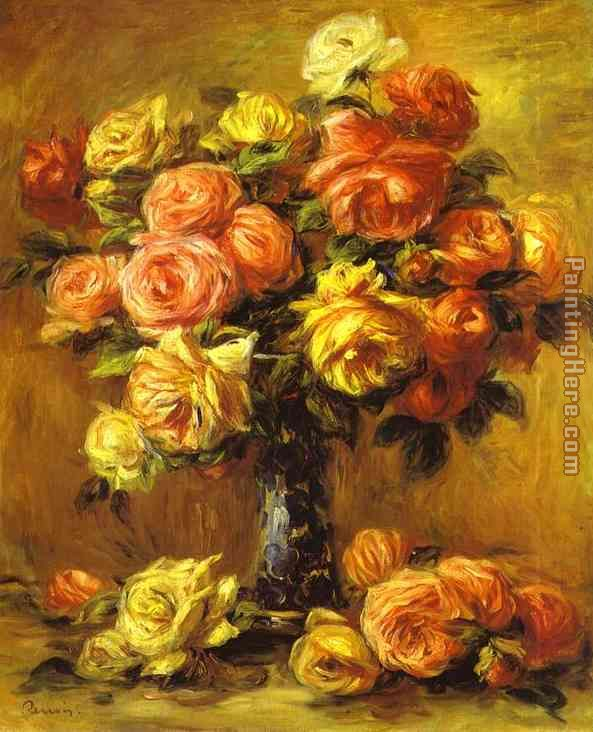 Roses in a Vase painting - Pierre Auguste Renoir Roses in a Vase art painting