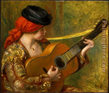 Young Spanish Woman with a Guitar painting - Pierre Auguste Renoir Young Spanish Woman with a Guitar art painting