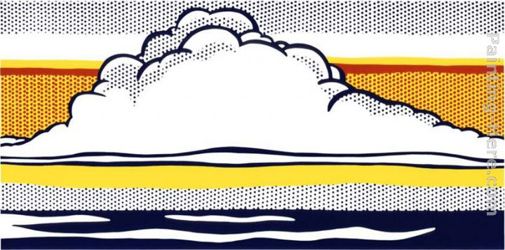 Cloud and Sea, 1964 painting - Roy Lichtenstein Cloud and Sea, 1964 art painting