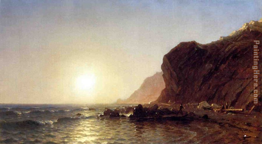 Sunset on the Shore of No Man's Land - Bass Fishing painting - Sanford Robinson Gifford Sunset on the Shore of No Man's Land - Bass Fishing art painting