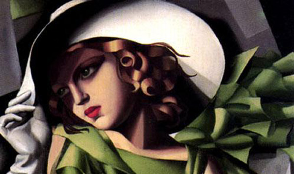 Girl in a Green Dress detail painting - Tamara de Lempicka Girl in a Green Dress detail art painting