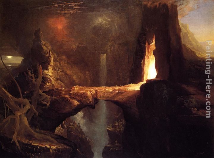 Expulsion Moon and Firelight painting - Thomas Cole Expulsion Moon and Firelight art painting