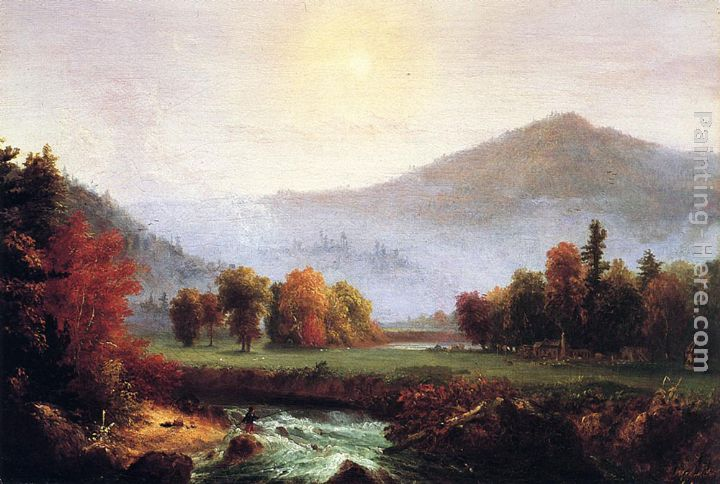 Thomas Cole Morning Mist Rising, Plymouth, New Hampshire Art Painting
