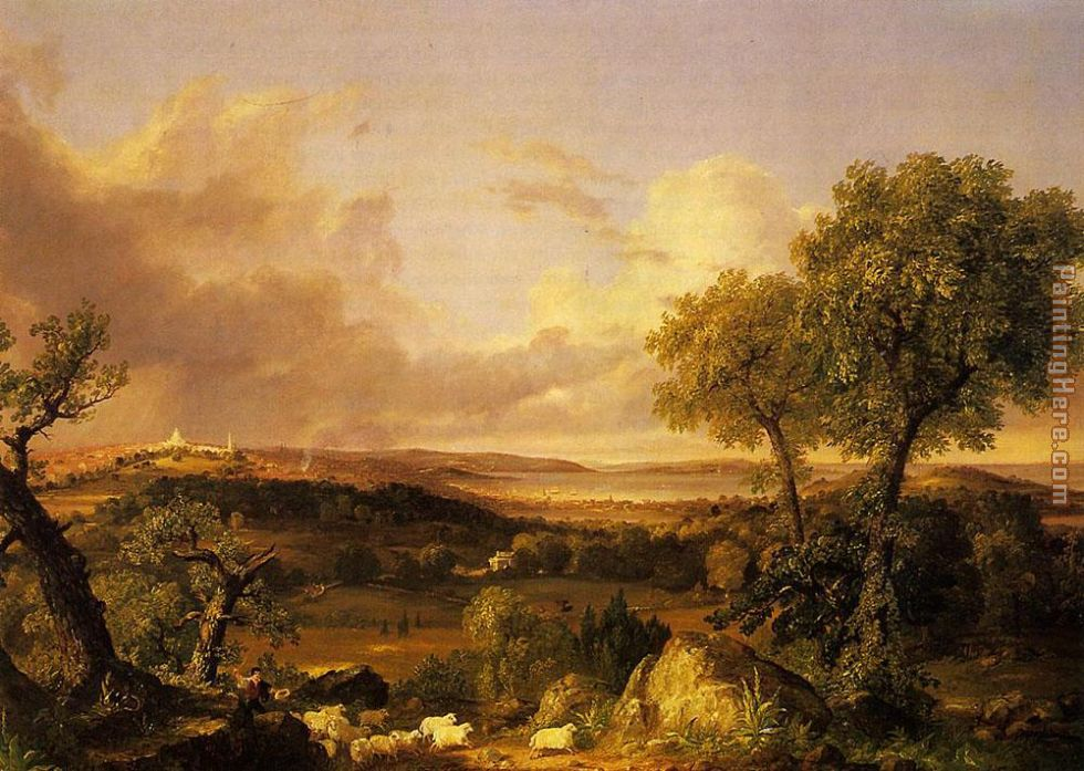 Thomas Cole View of Boston Art Painting