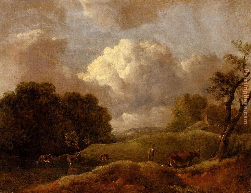 An Extensive Landscape With Cattle And A Drover painting - Thomas Gainsborough An Extensive Landscape With Cattle And A Drover art painting