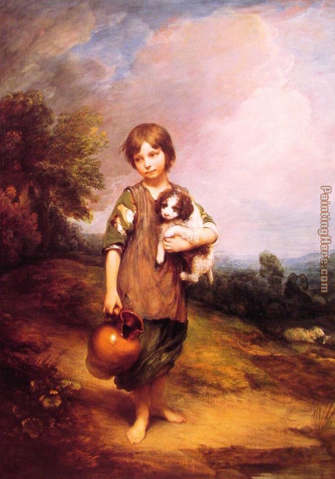Cottage Girl with Dog and Pitcher painting - Thomas Gainsborough Cottage Girl with Dog and Pitcher art painting