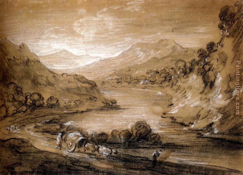 Thomas Gainsborough Mountainous Landscape With Cart And Figures Art Painting
