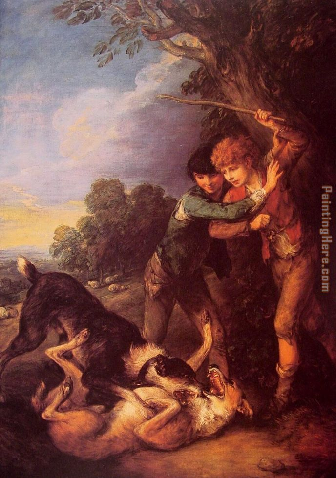 Shepherd Boys with Dogs Fighting painting - Thomas Gainsborough Shepherd Boys with Dogs Fighting art painting