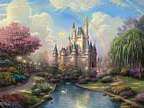 a new day at the Cinderella's castle by Thomas Kinkade