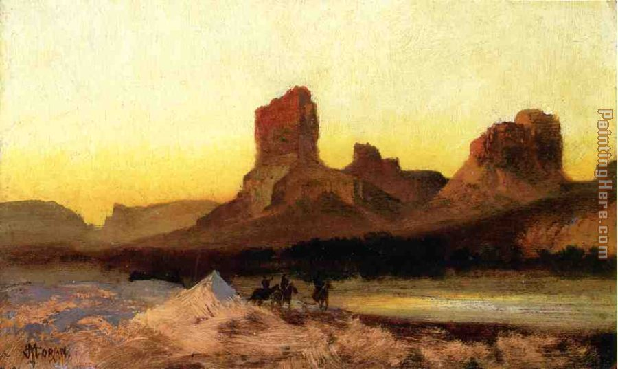 Indians at the Green River painting - Thomas Moran Indians at the Green River art painting