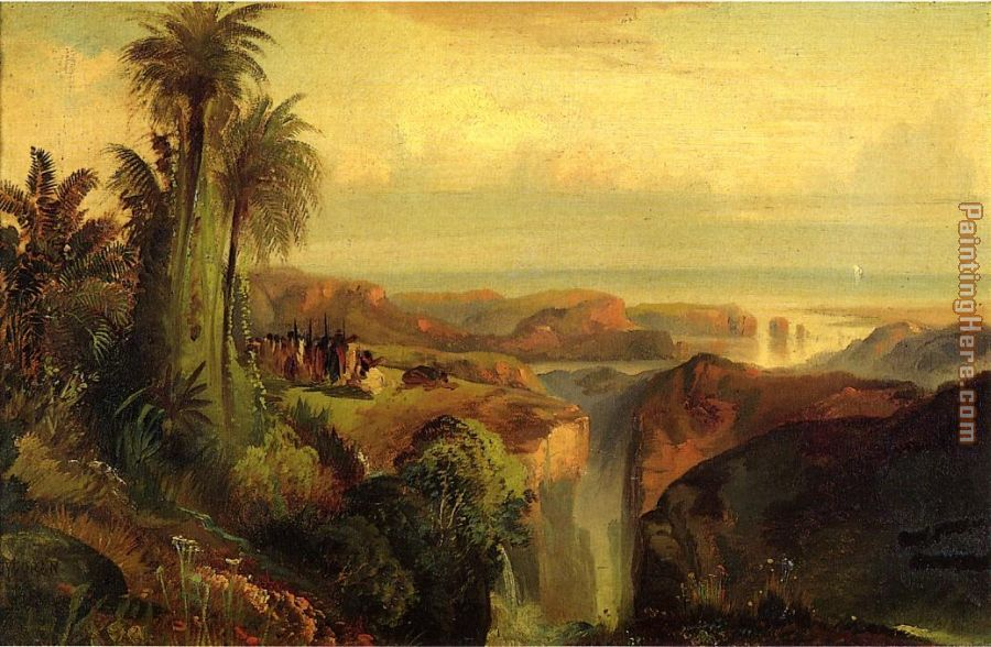 Indians on a Cliff painting - Thomas Moran Indians on a Cliff art painting