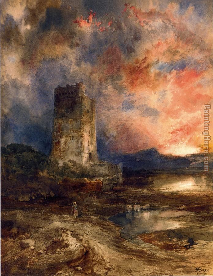 Thomas Moran Sunset on the Moor Art Painting