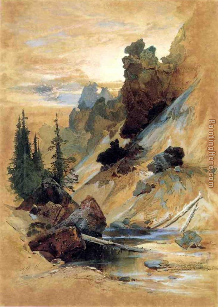 The Devil's Den on Cascade Creek painting - Thomas Moran The Devil's Den on Cascade Creek art painting