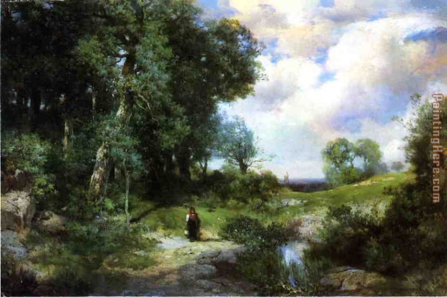 Young Girl in a Long Island Landscape painting - Thomas Moran Young Girl in a Long Island Landscape art painting