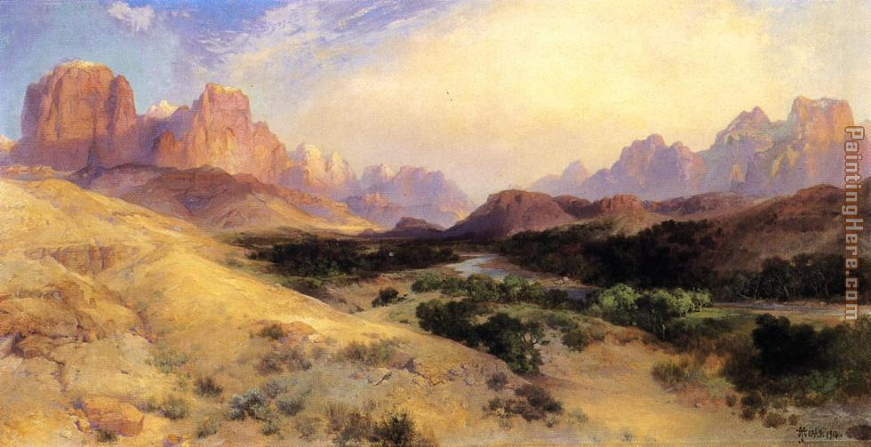 Zion Valley, South Utah painting - Thomas Moran Zion Valley, South Utah art painting