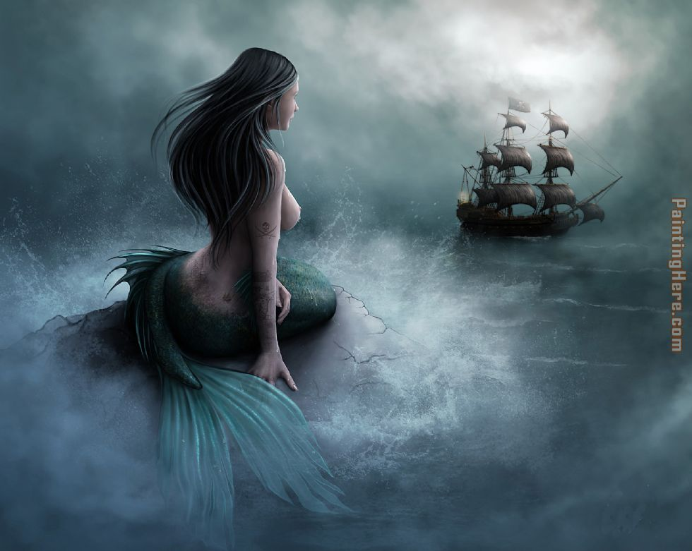 Unknown Artist Mermaid and pirate ship Art Painting