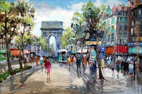 Paris Street Scene painting - Unknown Artist Paris Street Scene art painting