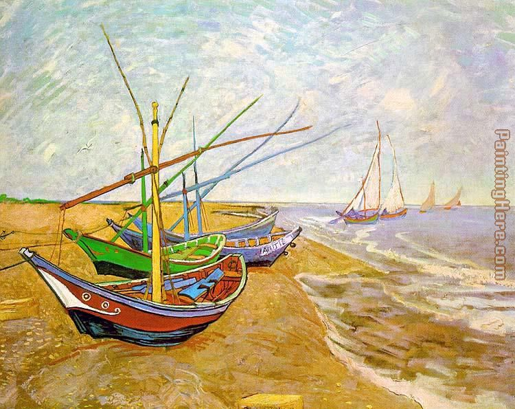Fishing Boats on the Beach painting - Vincent van Gogh Fishing Boats on the Beach art painting