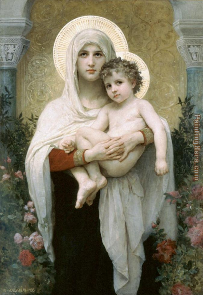 William Bouguereau The Madonna of the Roses Art Painting