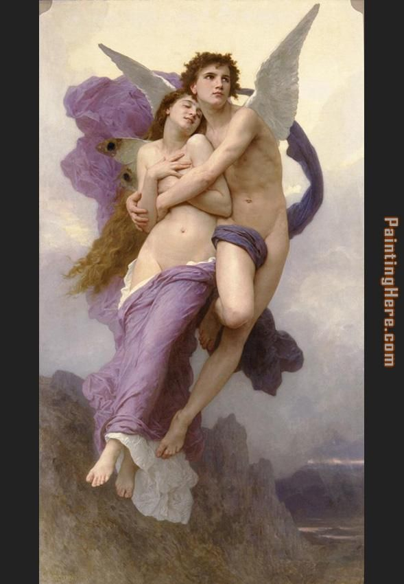 The Rapture of Psyche painting - William Bouguereau The Rapture of Psyche art painting