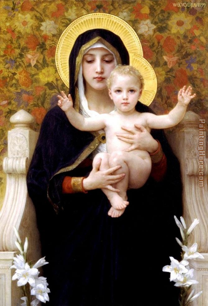The Virgin of the Lilies painting - William Bouguereau The Virgin of the Lilies art painting
