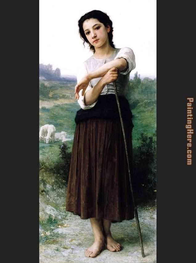 William Bouguereau Young Shepherdess Standing Art Painting