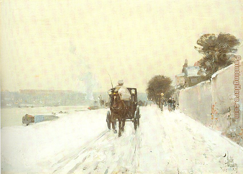 childe hassam Along the Seine Winter Art Painting