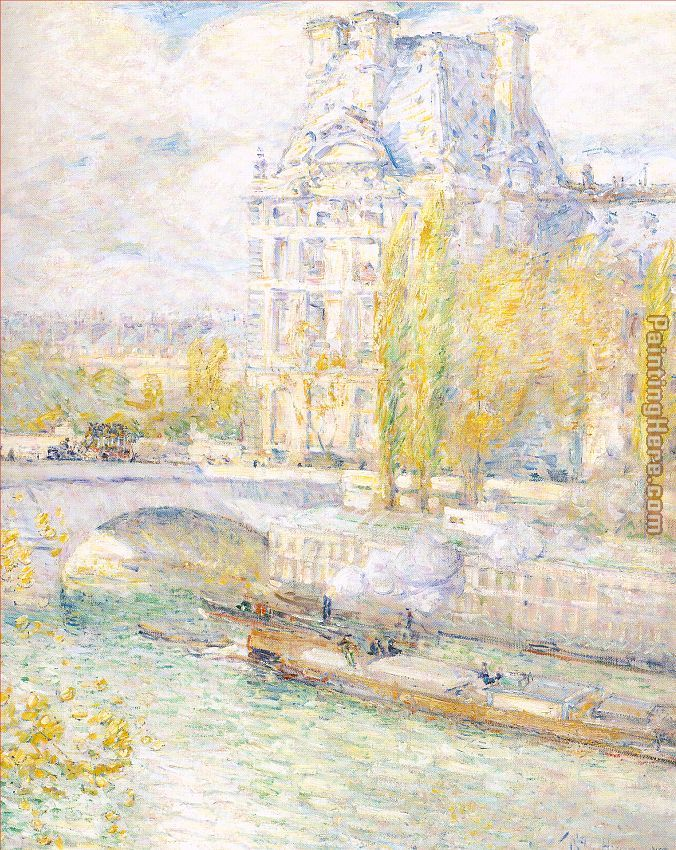 childe hassam Le Louvre et le Pont Royal Art Painting