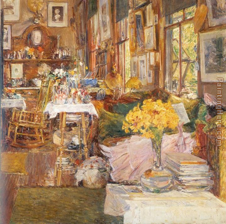 The Room of Flowers painting - childe hassam The Room of Flowers art painting