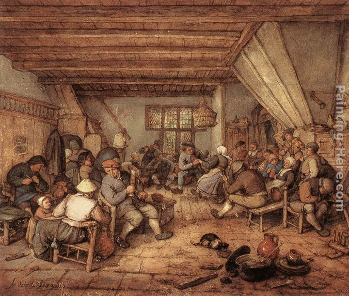 Feasting Peasants in a Tavern painting - Adriaen van Ostade Feasting Peasants in a Tavern art painting