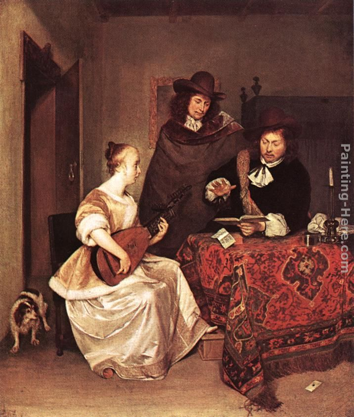 A Young Woman Playing a Theorbo to Two Men painting - Gerard ter Borch A Young Woman Playing a Theorbo to Two Men art painting