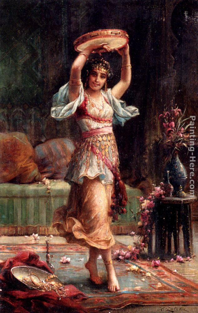 The Tambourine Player painting - Hans Zatzka The Tambourine Player art painting