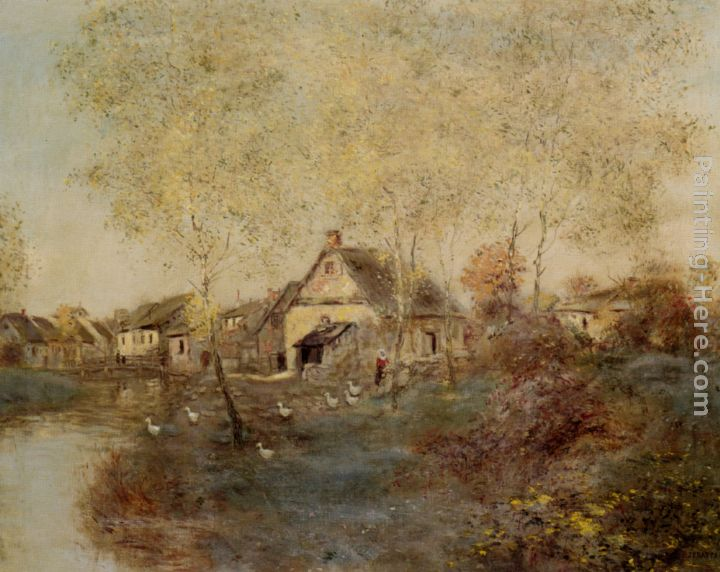 Feeding the Ducks Along the Canal painting - Jean Francois Raffaelli Feeding the Ducks Along the Canal art painting