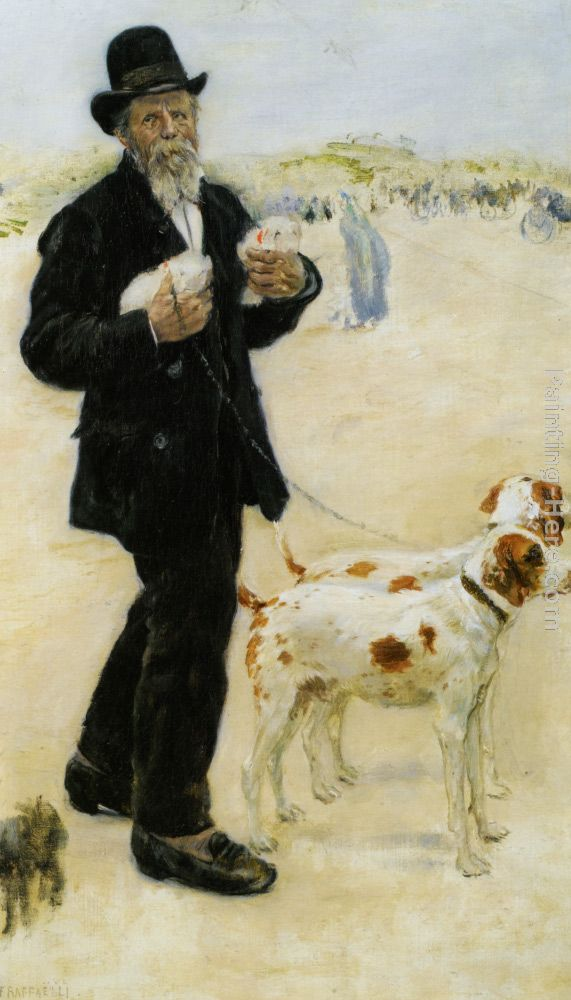 Man Walking Dogs painting - Jean Francois Raffaelli Man Walking Dogs art painting