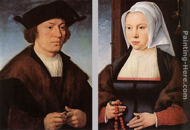 Portrait of a Man and Woman painting - Joos van Cleve Portrait of a Man and Woman art painting