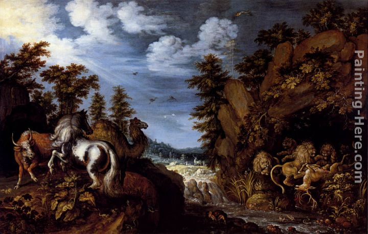 A Rocky Landscape With A Stallion, Bull And Camel Overlooking A Lion's Den painting - Roelandt Jacobsz Savery A Rocky Landscape With A Stallion, Bull And Camel Overlooking A Lion's Den art painting
