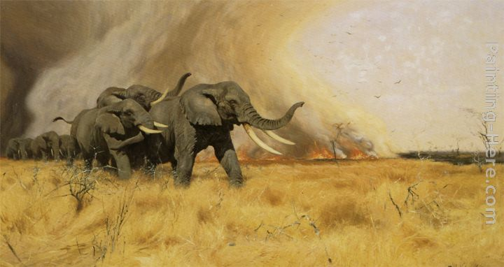 Elephants Moving Before a Veldt Fire painting - Wilhelm Kuhnert Elephants Moving Before a Veldt Fire art painting