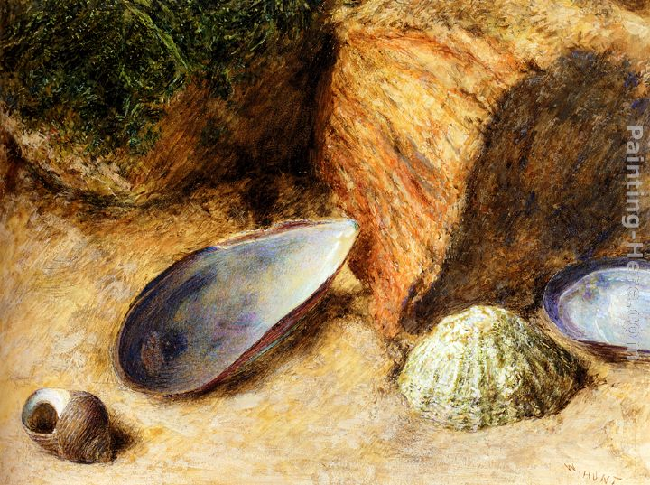 Still Life With Sea Shells On A Mossy Bank painting - William Henry Hunt Still Life With Sea Shells On A Mossy Bank art painting