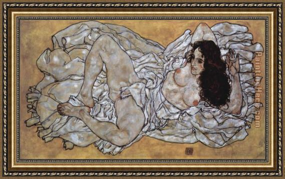 Egon Schiele Lying woman Framed Painting