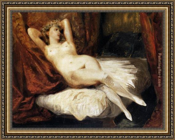 Eugene Delacroix Female Nude Reclining on a Divan Framed Painting