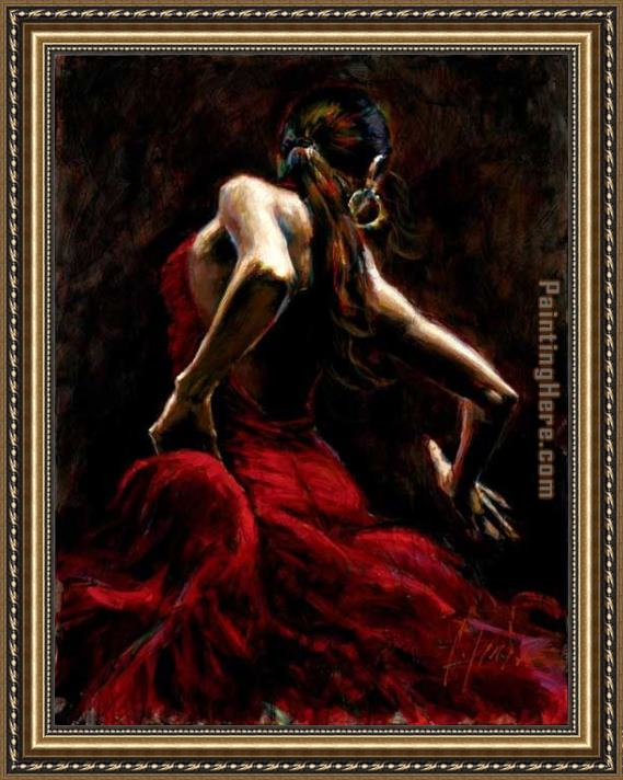 Fabian Perez Dancer in Red Framed Painting