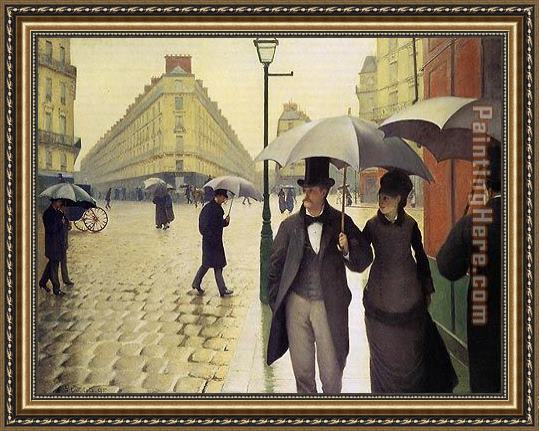 Gustave Caillebotte Paris Street Rainy Weather Framed Painting