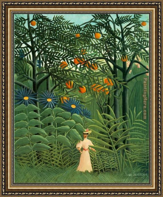 Henri Rousseau Woman Walking in an Exotic Forest Framed Painting