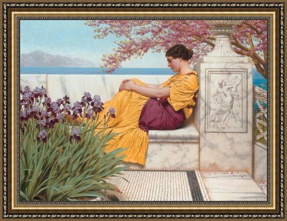 John William Godward Under the Blossom that Hangs on the Bough Framed Painting