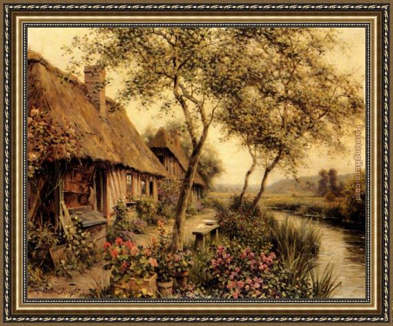 Louis Aston Knight Cottages Beside A River Framed Painting