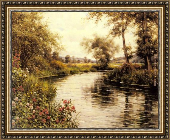 Louis Aston Knight Flowers in Bloom by a River Framed Painting