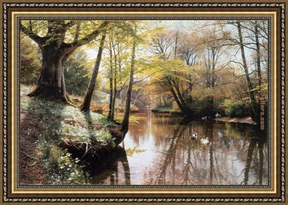 Peder Mork Monsted A River Landscape in Springtime Framed Painting